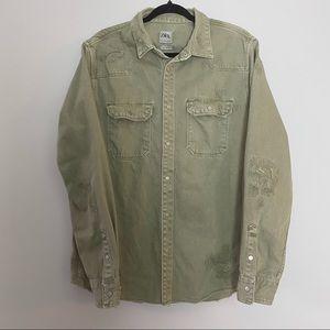 Zara Distressed Light Green Denim Jean Jacket Large Coat Relaxed Fit
